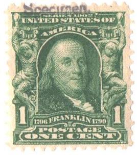1902 1c blue green