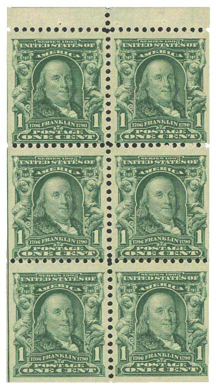 1907 1c Franklin, Booklet pane of 6