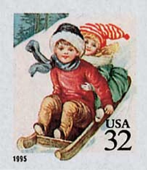 1995 32c Contemporary Christmas: Children Sledding