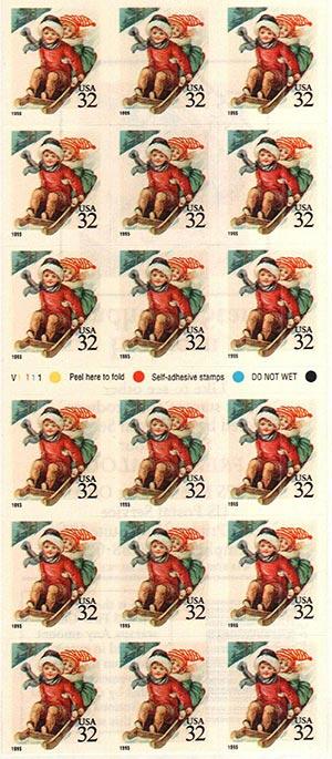 1995 32c Children Sleddng,slf-adh,pn(18)
