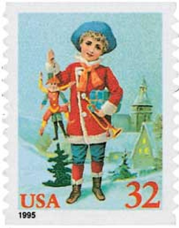 1995 32c Contemporary Christmas: Child with Jumping Jack, coil