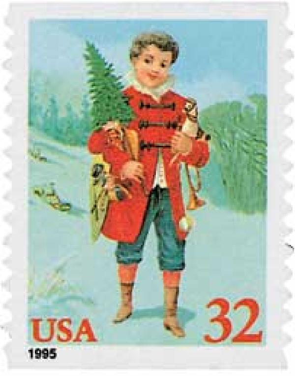 1995 32c Contemporary Christmas: Child with Tree, coil