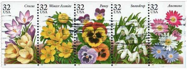 1996 32c Winter Garden Flowers bklt pane