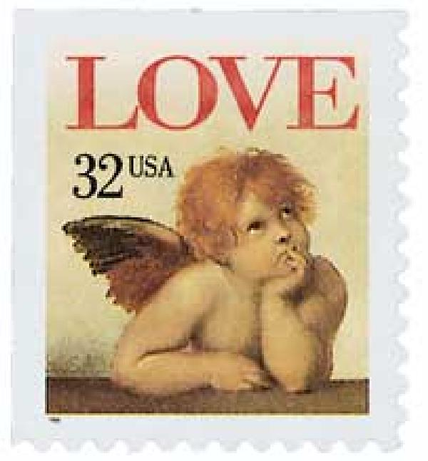 1996 32c Angel Love,self-adh,single