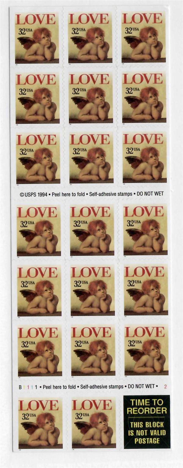 1996 32c Angel Love,self-adh,pane of 20
