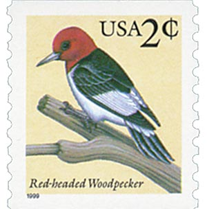 1999 2c Red-headed Woodpecker, coil