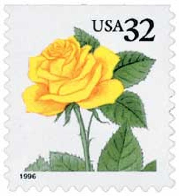 1996 32c Yellow Rose, booklet single