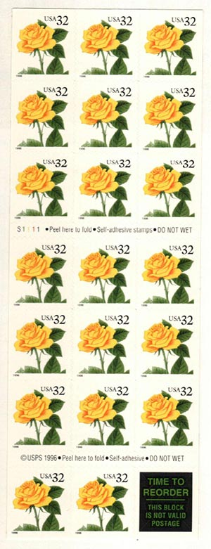 1996 S.A. yellow rose pane of 20