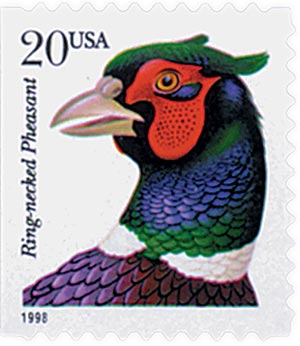 1998 20c Ring-necked Pheasant, self-adhesive