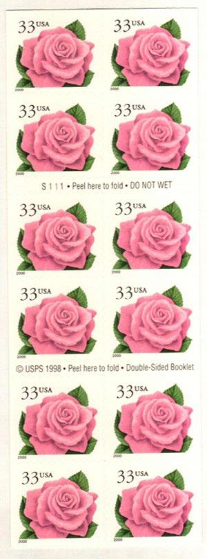 2000 33c s/a Pink Rose pane of 20