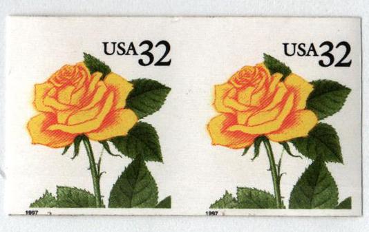 1997 32c Yellow Rose Self-adhesive Coil, imperf pair