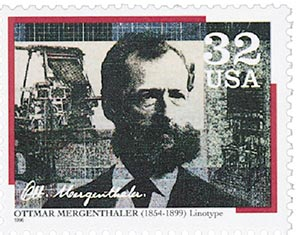 1996 32c Pioneers of Communication: Ottmar Mergenthaler