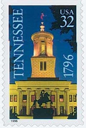 1996 32c Tennessee Statehood, booklet single