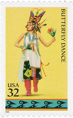 1996 32c American Indian Dances: Butterfly Dance