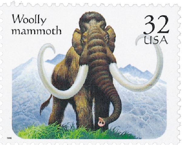 1996 32c Prehistoric Animals: Woolly Mammoth