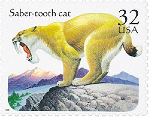 1996 32c Prehistoric Animals: Saber-tooth Cat