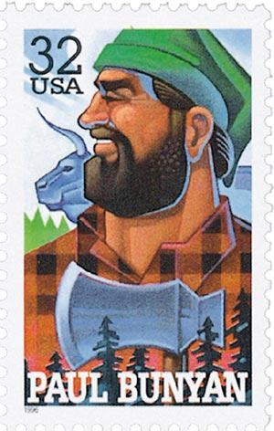 1996 32c Folk Heroes: Paul Bunyan
