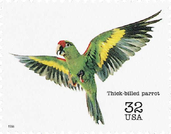 1996 32c Endangered Species: Thick-billed Parrot
