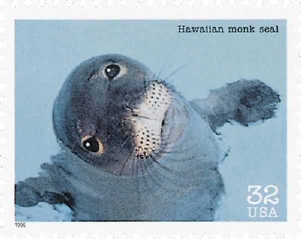 1996 32c Endangered Species: Hawaiian Monk Seal