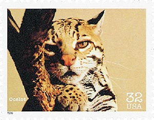 1996 32c Endangered Species: Ocelot
