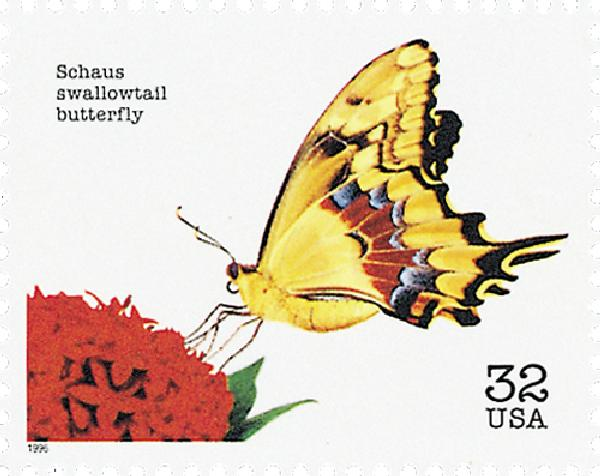 1996 32c Endangered Species: Schaus Swallowtail Butterfly