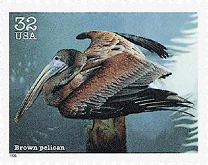 1996 32c Endangered Species: Brown Pelican