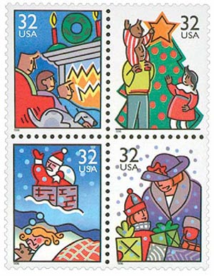 1996 32c Contemporary Christmas: Family Scenes