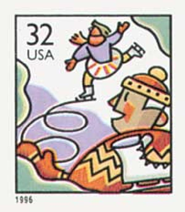 1996 32c Ice Skaters, booklet single