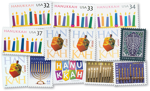 1996-2018 Hannukkah, set of 13 stamps
