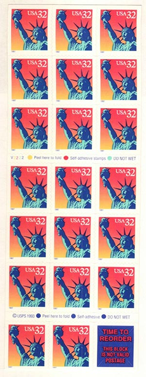 1997 32c Statue of Liberty pane 20+label