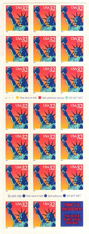 1997 32c Statue of Liberty S/A Pane of20