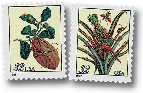 1997 32c Citron and Flowering Pineapple, booklet stamps