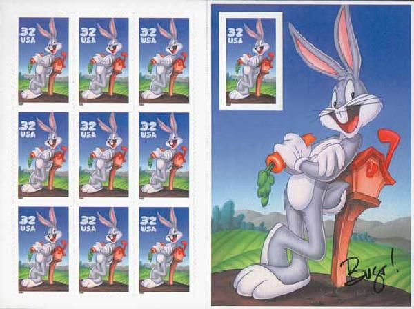1997 32c Bugs Bunny, pane of 10