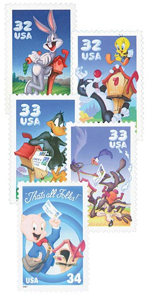 1997-2001 Warner Brothers, collection of 5 stamps