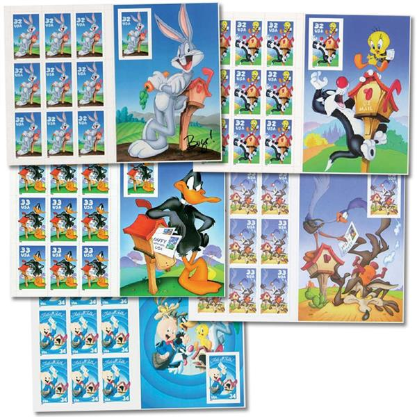 1997-2007 Warner Bros. Collection of 5 panes with Imperforate stamp