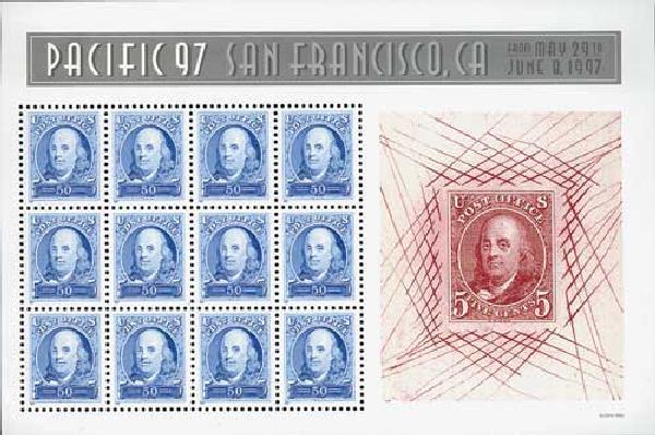 1997 50c Ben Franklin, sheet of 12