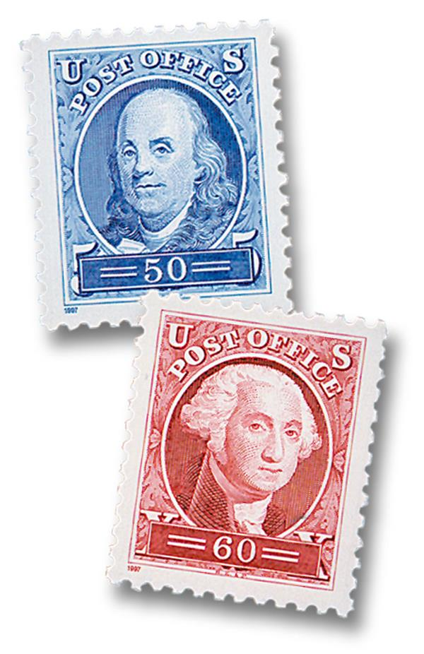 1997 50¢ Ben Franklin and George Washington, single stamps