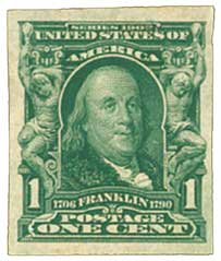 1906 1c Franklin, imperforate
