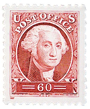 1997 60c George Washington, single from pane of 12