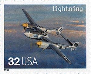 1997 32c Classic American Aircraft: Lightning