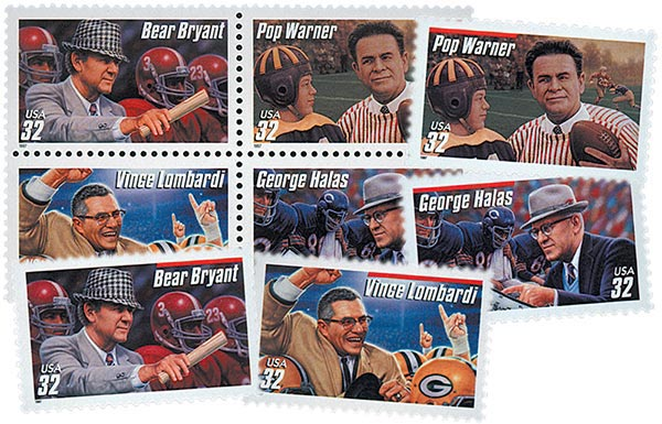 1997 Football Coaches, set of 8 stamps