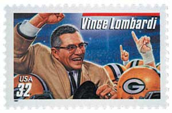 1997 32c Vince Lombardi, red bar