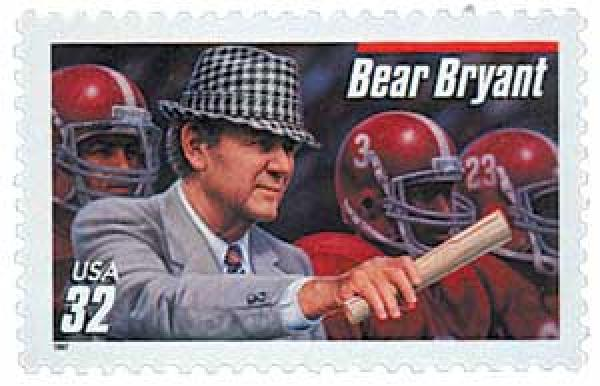 1997 32c Football Coaches: Bear Bryant, red bar