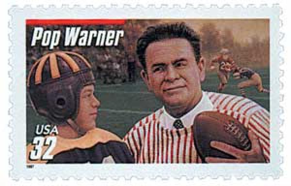 1997 32c Football Coaches: Pop Warner, red bar