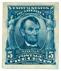 1908 5c Lincoln, blue, imperforate
