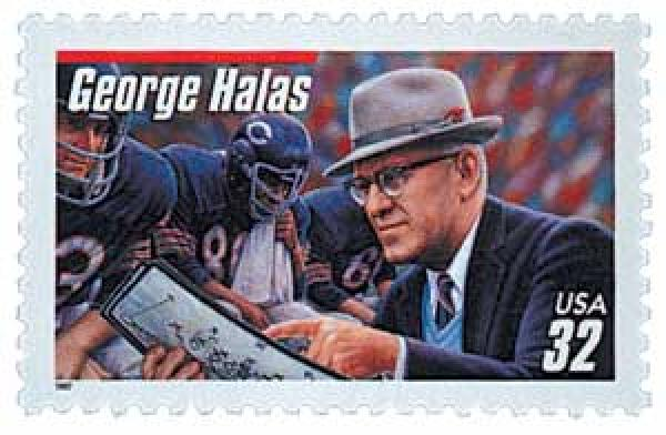 1997 32c Football Coaches: George Halas, red bar