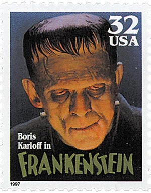 1997 32c Classic Movie Monsters: Boris Karloff as Frankenstein
