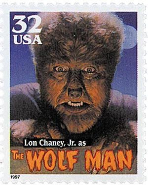 1997 32c Classic Movie Monsters: Lon Chaney, Jr. as The Wolf Man