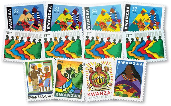 1997-2016 Kwanzaa Stamps, 12v