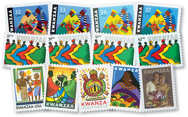 1997-2018 Kwanzaa, set of 13 stamps